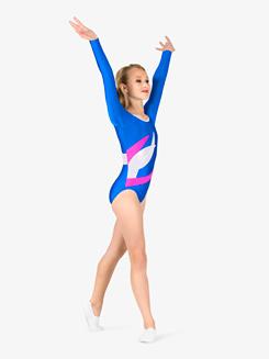 Girls Gymnastics Spliced Colorblock Long Sleeve Leotard
