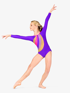 Girls Gymnastics Spliced Long Sleeve Leotard