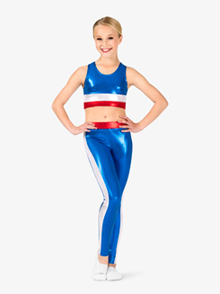 Girls Gymnastics Patriotic Colorblock Leggings