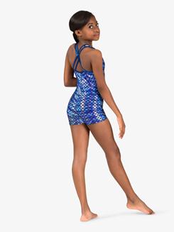 Girls Gymnastics Fish Scale X-Back Shorty Unitard