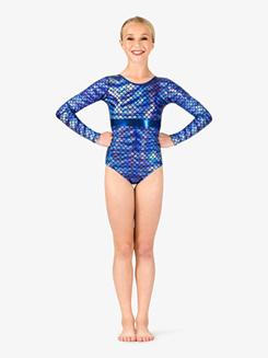2cd20a7c86202 Girls Gymnastics Fish Scale X-Back Leotard