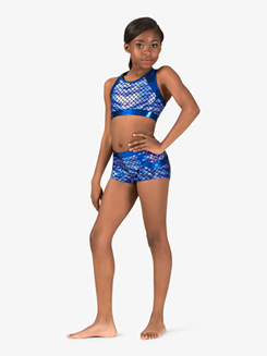 Girls Gymnastics Fish Scale X-Back Bra Top