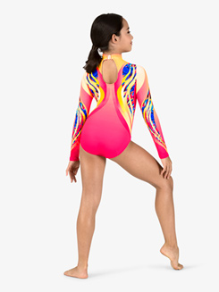 Girls Gymnastics Long Sleeve Printed Swirl Leotard