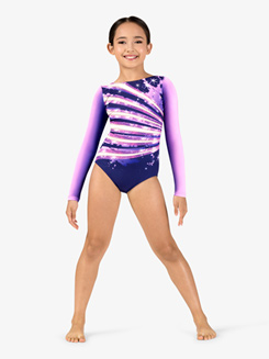 Girls Gymnastics Long Sleeve Printed Sparkle Ombre Leotard