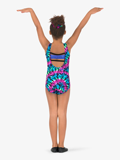 Girls Gymnastics Tie-Dye Color Block Tank Leotard