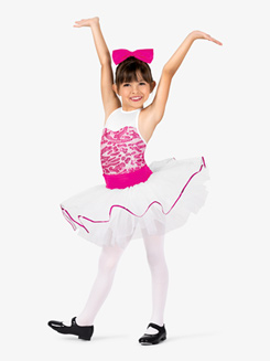 Girls Two-Tone Sequin Tank Costume Tutu Dress