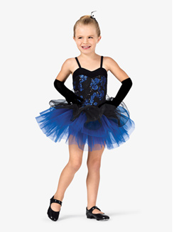 Girls Two-Tone Sequin Camisole Costume Tutu Dress