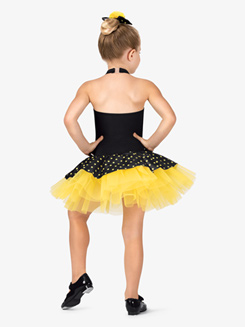 Girls Dual-Tone Dotted Halter Costume Tutu Dress