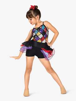 Girls Diamond Sequin Camisole Costume Shorty Unitard