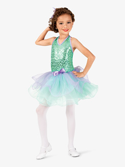 Girls Two-Tone Sequin Halter Costume Tutu Dress