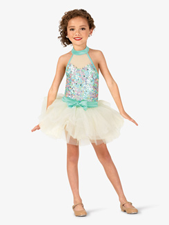Girls Sweetheart Sequin Halter Costume Tutu Dress