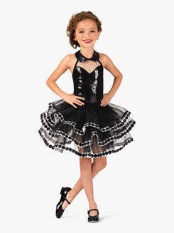 Girls Polka Dot Sequin Halter Costume Tutu Dress