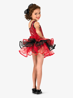 Girls Two-Tone Asymmetrical Costume Tutu Dress