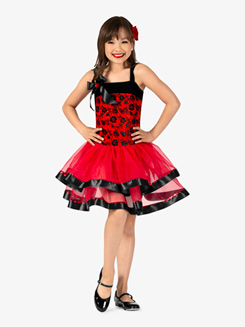 Girls Performance Spanish Rose Velvet Tank Tutu Dress