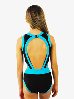 Girls Black and Seablue Cutout Tank Leotard