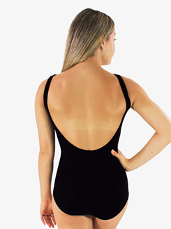 Womens Solid Black Low Strappy Front Tank Leotard