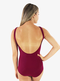 Womens Cranberry Red Low Strappy Front Tank Leotard