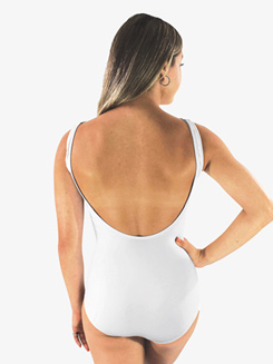 Womens Solid White Low Strappy Front Tank Leotard