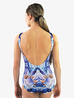 Womens Psychedelic Printed Low Back Tank Leotard