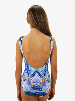 Girls Psychedelic Printed Low Back Tank Leotard