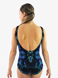 Womens Kaleidoscope Printed Low Back Tank Leotard