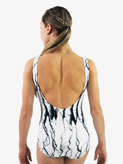 Womens Two-Tone Printed Low Back Tank Leotard