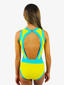 Girls Lemon and Turquoise Cutout Tank Leotard