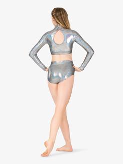 Girls Iridescent Metallic Long Sleeve Performance Crop Top