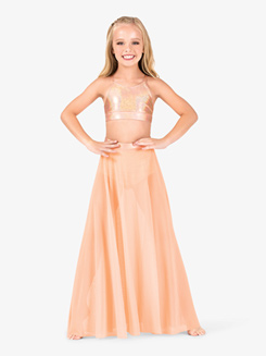 Girls Iridescent Metallic Waistband Performance Skirt