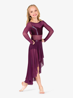 Girls Performance Mesh Sweetheart Long Sleeve Dress