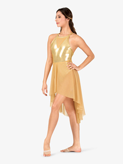 Girls Performance V-Front Mesh Metallic Tank Dress