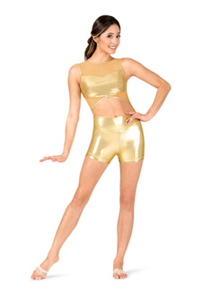 Womens Performance Metallic Banded Leg Shorts