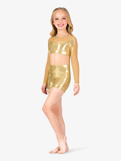 Girls Performance Metallic Banded Leg Shorts