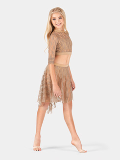 Child Mid Length High-Low Lace Skirt