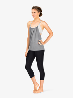 Womens Layered Camisole Workout Top