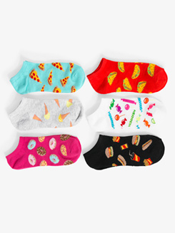 Womens Low Cut Food Graphic Print Dance Socks