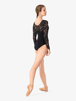 Womens Lace Long Sleeve Leotard