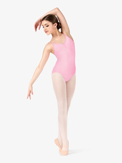 Girls Pinch Mesh Back Camisole Leotard