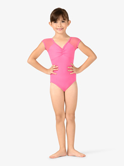 Girls Mesh Back Short Sleeve Leotard