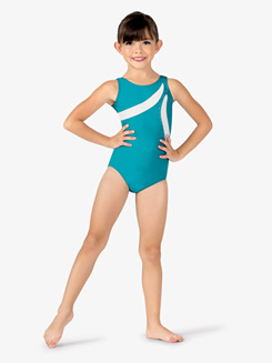 Girls Contrast Rhinestone Tank Leotard