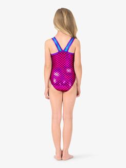 Girls Tank Mermaid Sequins V-Back Leotard