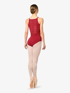 Womens Venezia Stripe Mesh Camisole Leotard