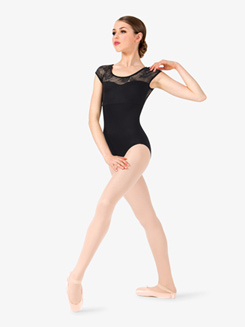 Womens Cap Sleeve Floral Lace Back Leotard