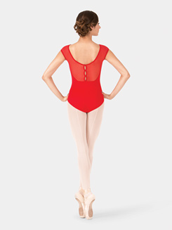 Adult Embroidered Mesh Cap Sleeve Leotard