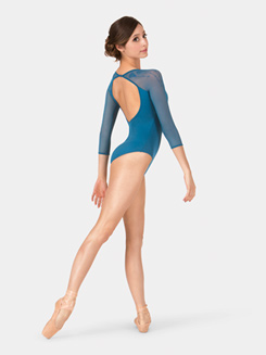Adult Embroidered Mesh Long Sleeve Leotard