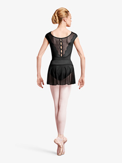 Womens Cap Sleeve Scalloped Detail Ballet Leotard