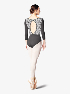 Womens Lily Stripe Mesh 3/4 Sleeve Leotard