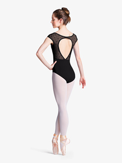 Womens Geo Mesh Cap Sleeve Open Back Leotard