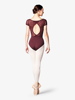 Womens Diamond Mesh Back Short Sleeve Leotard