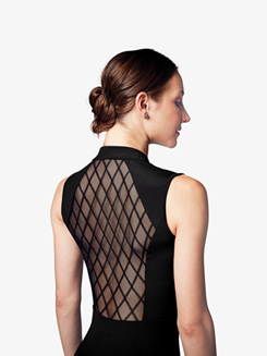 Womens Diamond Flock Mesh Mock Neck Leotard